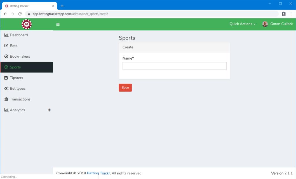 Adding a sport 2