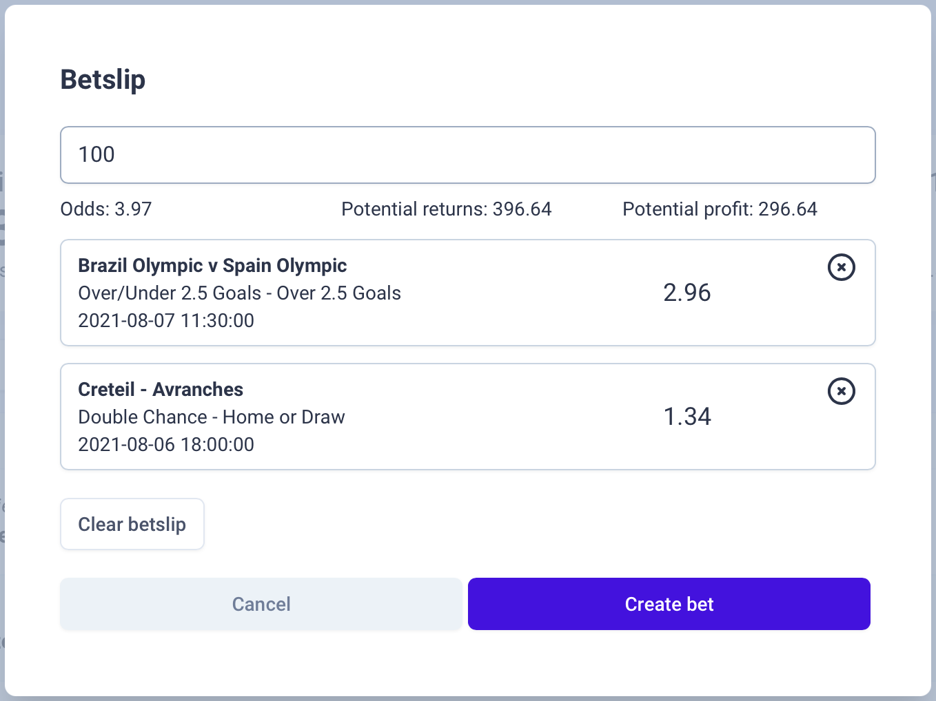 Track bets with betslips