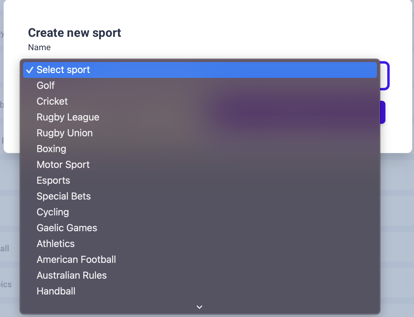 Available sports for tracking bets
